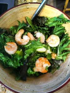 Shrimp, Romaine, Spinach, and Pears