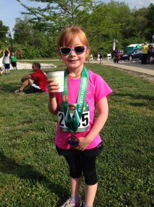 Medal in hand. She was so proud of herself.